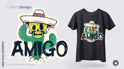 Obraz Funny skeleton illustration. Print on T-shirts, sweatshirts and souvenirs. Illustration with spanish word friend - fototapety do salonu