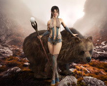 Fantasy Elegant Druid Female Devoted To Nature Posing With Her Magical Staff And Enormous Pet Bear. 3d Rendering