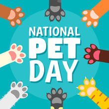 National Pet Day Paw Concept Background. Flat Illustration Of National Pet Day Paw Vector Concept Background For Web Design