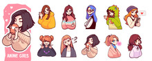 A Set Of Cute Anime Girls Illustrations In Various Clothes Doing Different Activities With Different Expressions. Stickers Or Badges