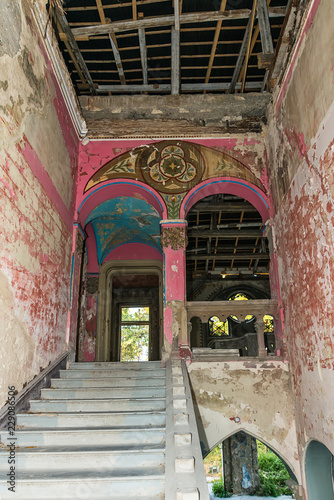 Aluminium Prints Ruins Old ruined abandoned mansion in Serbia