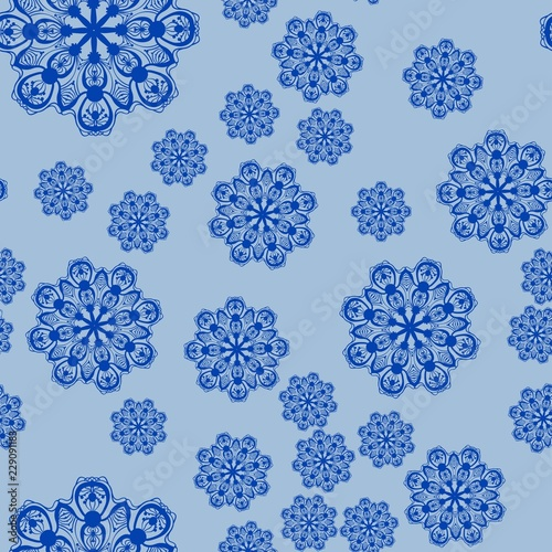 Canvas Print Stylized snowflakes falling down, seamless tile for Christmas wrapping paper