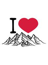 Herz Liebe I Love Berge Hügel...