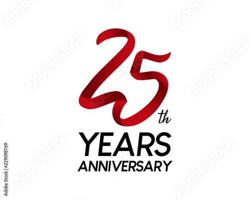 Fotografia  25 anniversary logo vector red ribbon