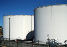 Close Up On The Oil Storage Ta...