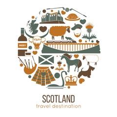 Fototapeta Scotland travel collection. Vector Illustration.