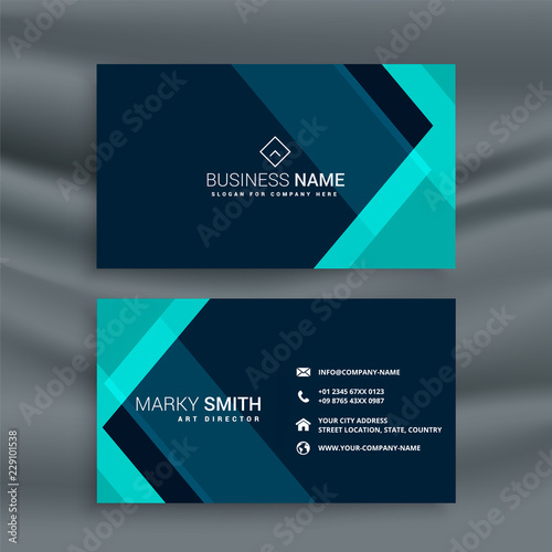 elegant dark blue business card template Wall mural