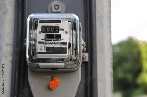 Closeup of outdoor electricity watt meter at the pole  - Buy