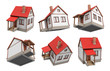 3d rendering of several single storied houses with an attics hanging on a white background at different angles of view.