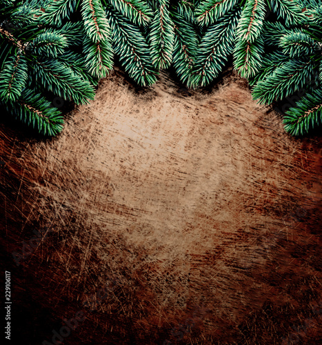 Christmas Background With Fir Tree Branches On Rustic Wooden