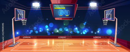Obraz Basketball court illuminated with stadium lights, scoreboard and cameras flashlight in fan sector cartoon vector illustration. Modern arena for sports games. Basketball championship or tournament - fototapety do salonu