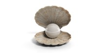 Pearl In A Shell Isolated On W...