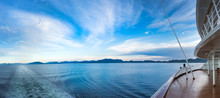 Early Evening Panoramic View Of Dixon Entrance, BC From Stern Of Cruise Ship.