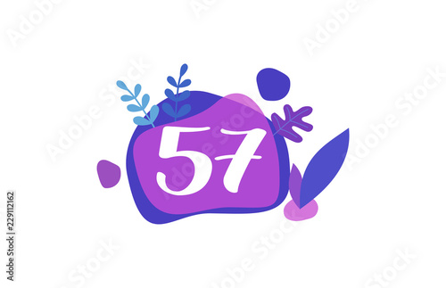 Photo  57 Years Anniversary Modern Purple Blue Flat Design