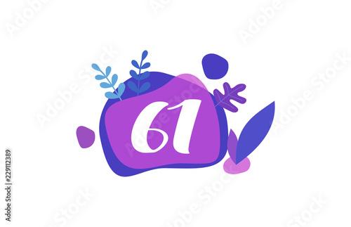 Fotografia  61 Years Anniversary Modern Purple Blue Flat Design