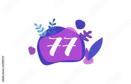 Fotografie, Obraz  77 Years Anniversary Modern Purple Blue Flat Design