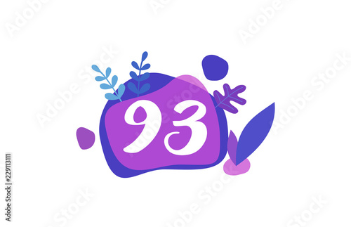 Obraz na plátně 93 Years Anniversary Modern Purple Blue Flat Design