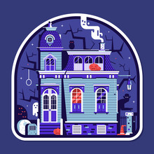 Halloween Spooky House Sticker With Haunted Victorian Mansion Full Of Ghosts And Scary Creatures.