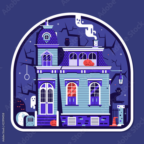 Halloween Spooky House.Halloween Spooky House Sticker With Haunted Victorian