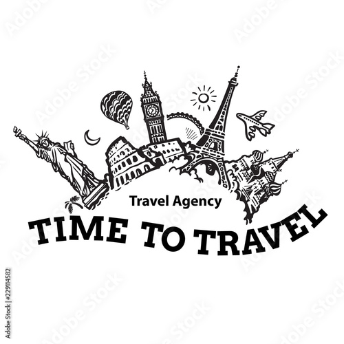 Travel agency signboard. Travel and tourism background. Famous world landmarks located around the globe. Hand drawn sketch vector illustration.
