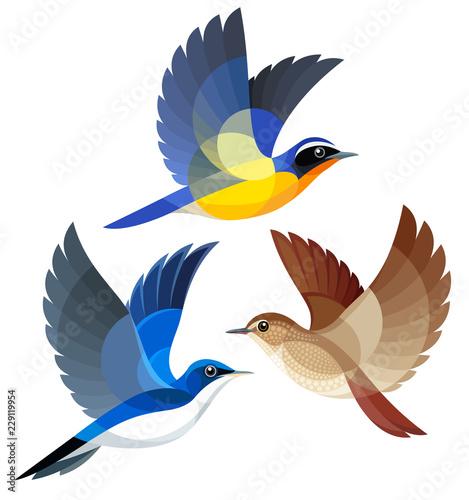 Stylized Songbirds in flight Wall mural