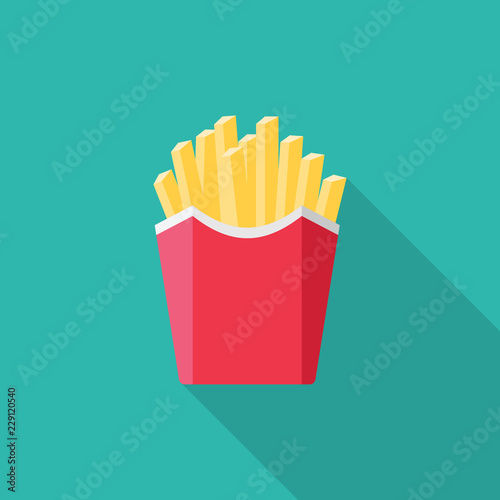 Fotografie, Tablou French fries flat icon with long shadow isolated on blue background