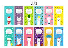 Llama Alpaca Calendar 2019. Vertical Monthly. Cute Funny Cartoon Character Set. All Month. Happy Valentines Christmas St Patrick Day Easter Egg Bird Chicken Umbrella, Rain. Santa Hat, Sun Flat Design