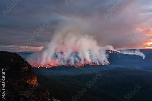 Mount Solitary bush fire burning at dusk Canvas Print