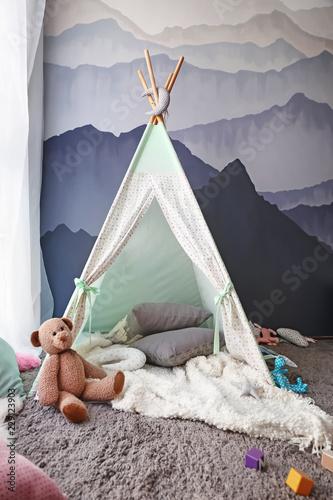 Fotografía Cozy play tent for kids in child room