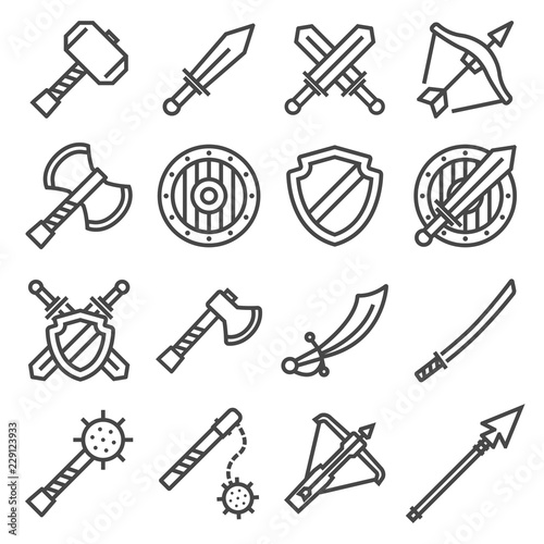 Foto Vector set of fighting knight swords icons