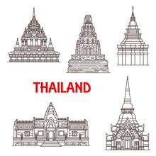 Thailand Ayutthaya And Hua Hin Landmark Icons