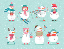 Christmas Set With Cute Snowmen.