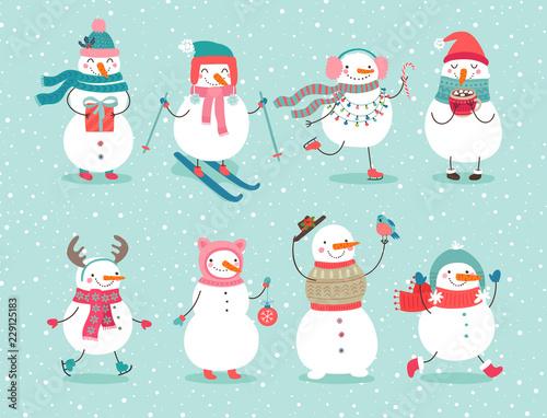 Christmas set with cute snowmen. Canvas Print