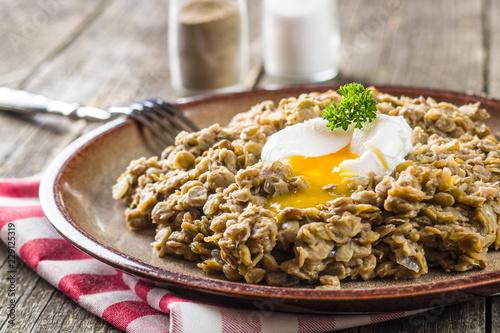 Fotografía  The cooked lentils.