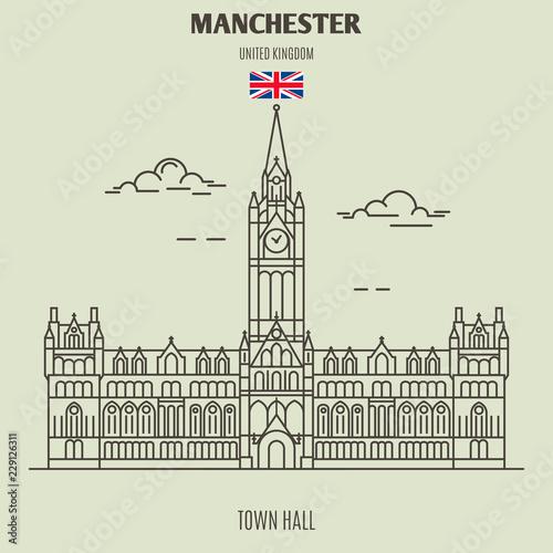 Town Hall in Manchester, UK. Landmark icon Wallpaper Mural