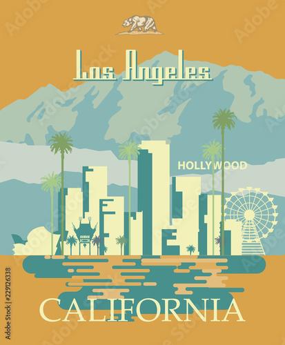 Naklejka premium Szablon miasta wektor Los Angeles. Plakat Kalifornii w kolorowym stylu płaski.