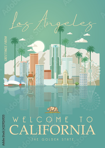 Photo  Los Angeles vector city template