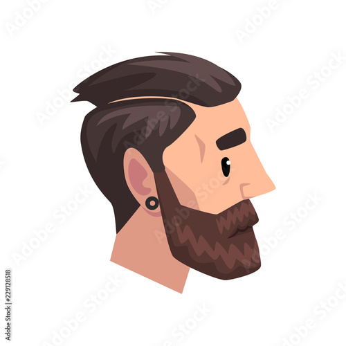 Photo  Head of young bearded man with modern haircut, profile of guy with fashion hairs