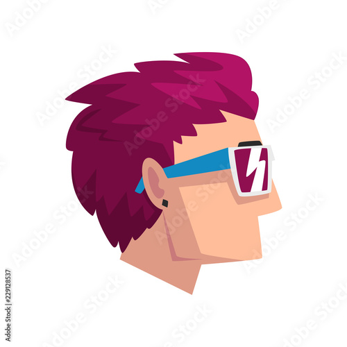 Photo  Head of man with short purple dyed hair, profile of guy with fashion haircut vec