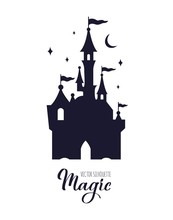 Fairy Tale Medieval Castle Silhouette Witn Night Starry Sky