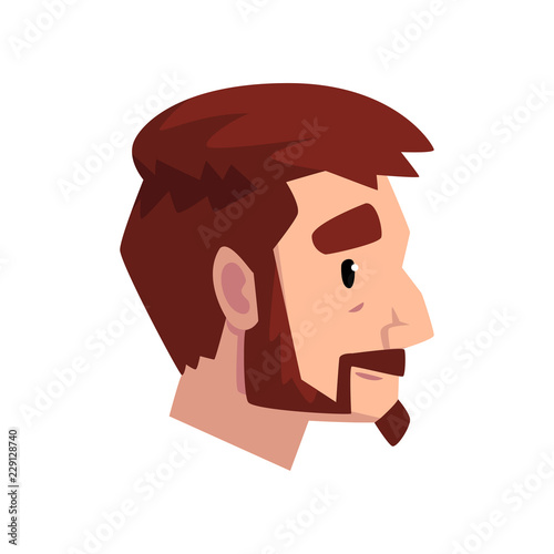 Photo  Head of young bearded man with brown hair, profile of guy with fashion haircut v