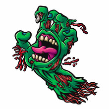 Zombie Hand Scream - Dead Mouth - Vector Illustration
