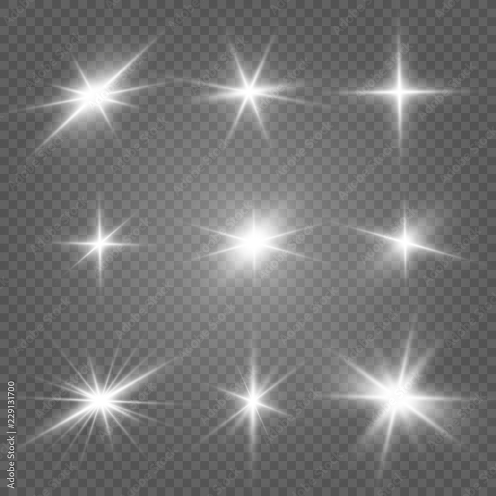 Fototapety, obrazy: Glow isolated white light effect set, lens flare, explosion, glitter, line, sun flash and stars. Abstract special effect element design. Shine ray with lightning