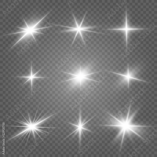 Photo Glow isolated white light effect set, lens flare, explosion, glitter, line, sun flash and stars