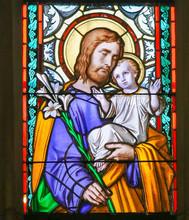 Stained Glass - Saint Joseph And Child Jesus