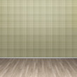 3d illustration interior rendering of green lined wall and brown parquet floor