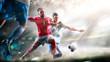 Leinwandbild Motiv Soccer players in action on the grand stadium background panorama