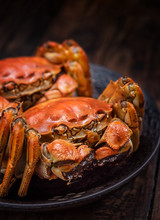 Two Cooked Hairy Crabs On The ...