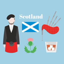 Flat Symbol Of Scotland, Unite...