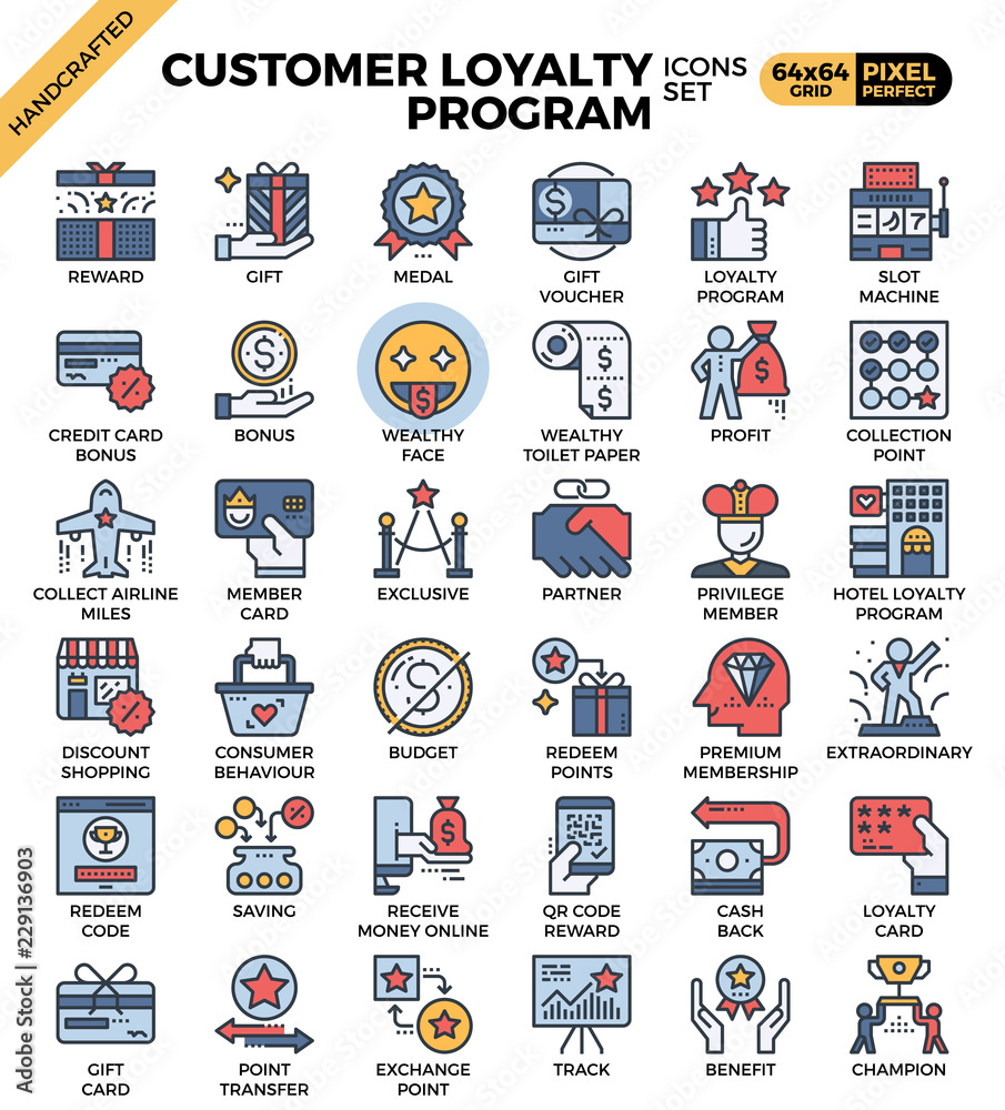 Fototapeta Customer loyalty concept icons